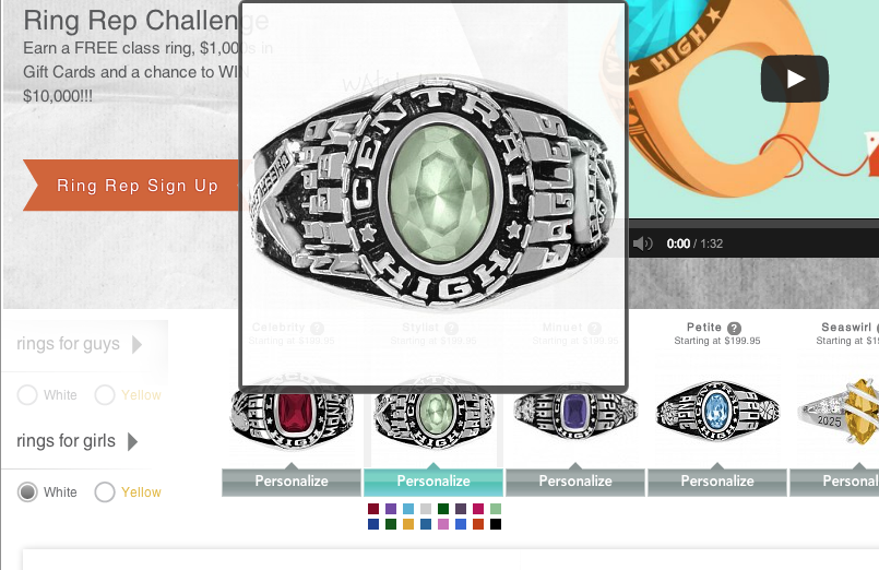 High School Class Rings Different Birth Stone Colors