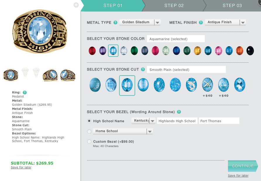 Step 01 of Artcarved Medalist Class Ring Configurator