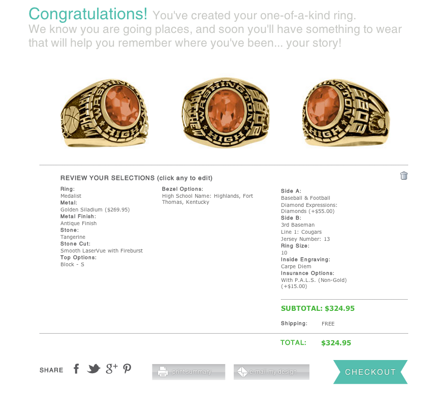 Class Ring Cart Page