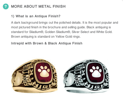 Antique vs. Natural Finish for Class Ring