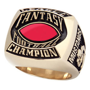 Fantasy football championship ring - red stone