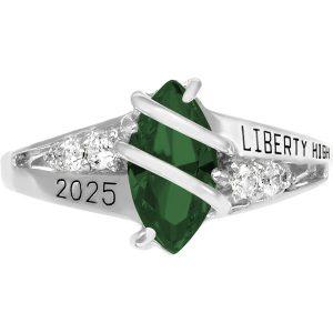 Girls Emerald Class Ring