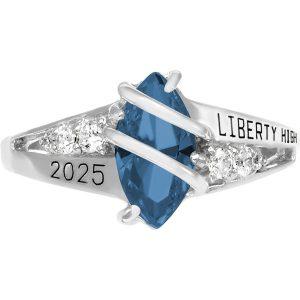 Girls Blue Zircon Class Ring